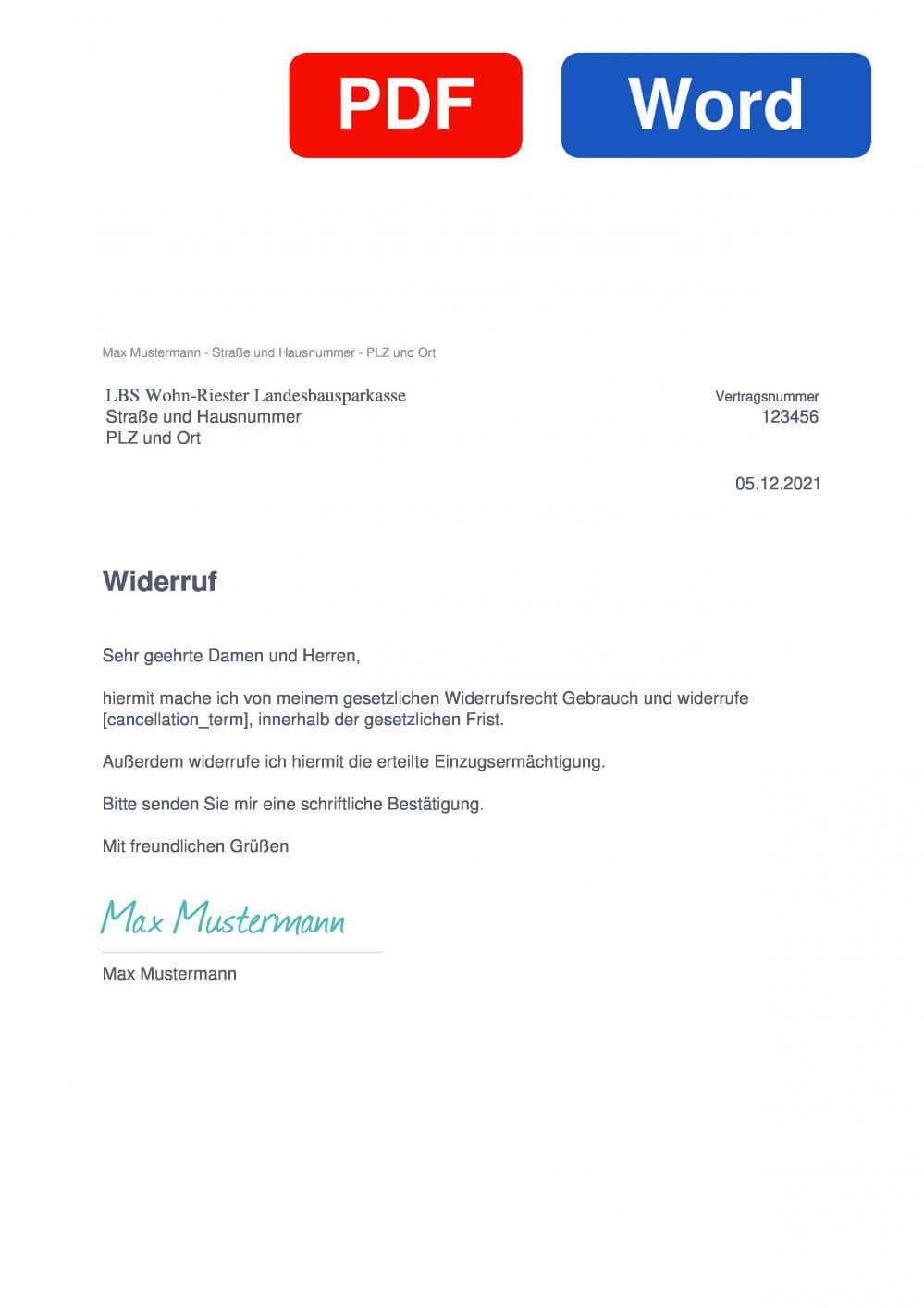 LBS Wohn-Riester Landesbausparkasse  Muster Vorlage für Wiederrufsschreiben