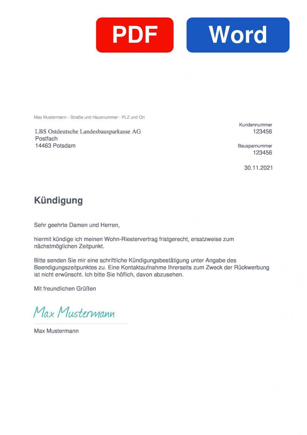 LBS Ostdeutsche Landesbausparkasse AG Muster Vorlage für Kündigungsschreiben