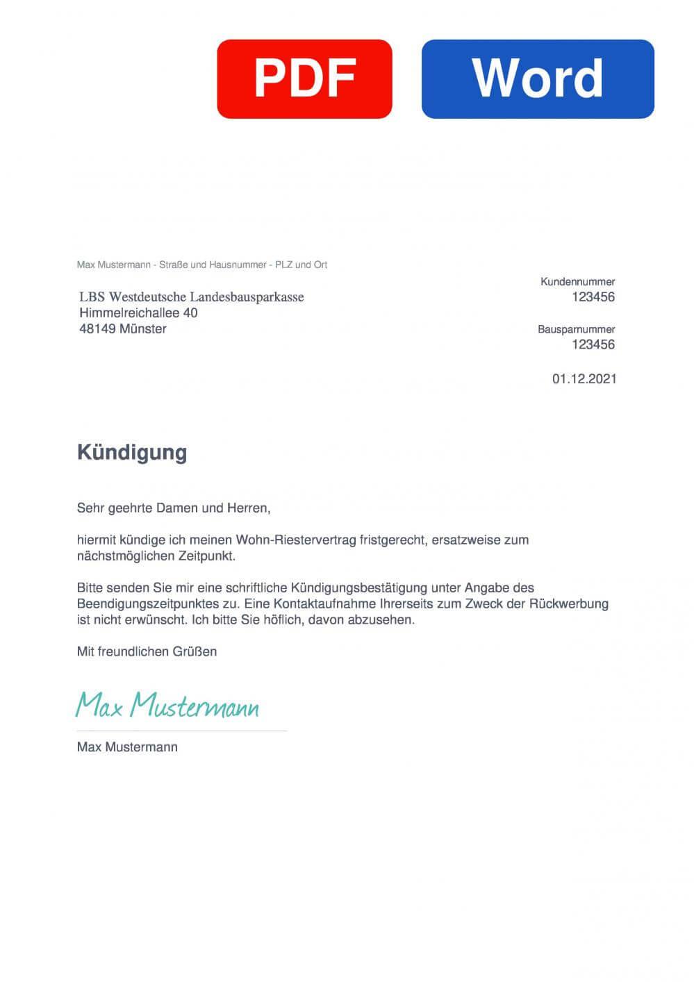 LBS Westdeutsche Landesbausparkasse  Muster Vorlage für Kündigungsschreiben