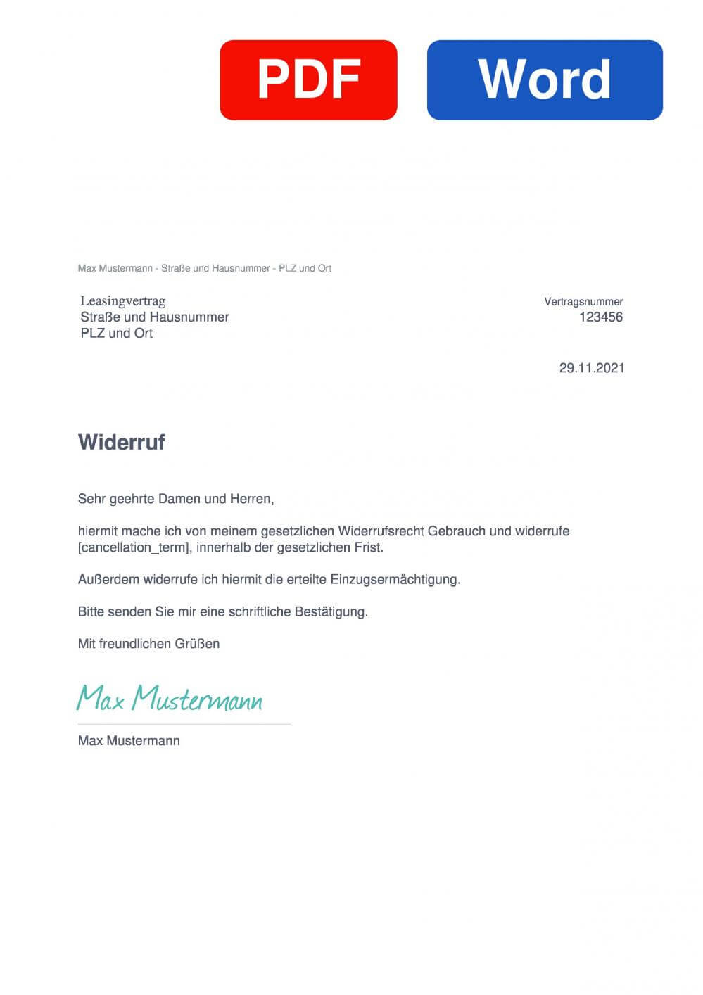 Leasingvertrag Muster Vorlage für Wiederrufsschreiben
