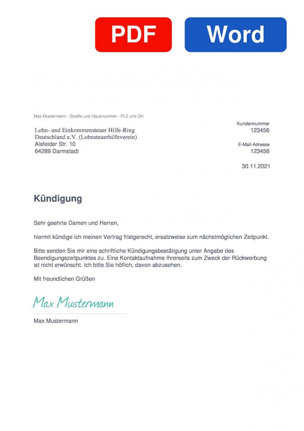 Lohn und Einkommensteuer Hilfe Ring Deutschland ev. Muster Vorlage für Kündigungsschreiben