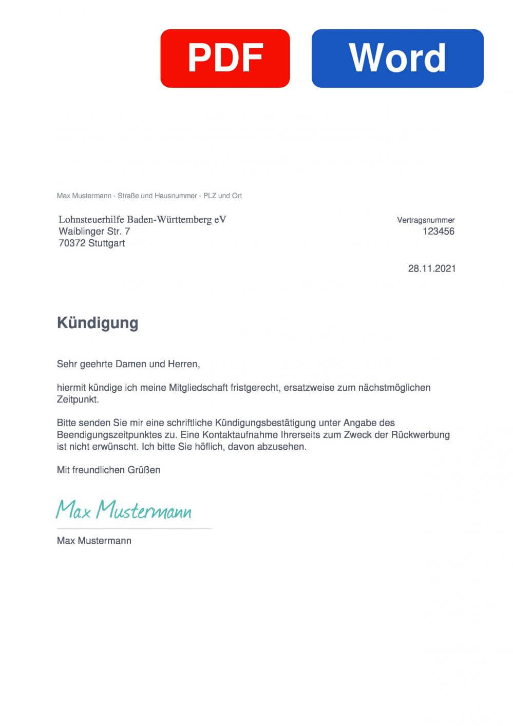 Lohnsteuerhilfe Baden-Württemberg Muster Vorlage für Kündigungsschreiben