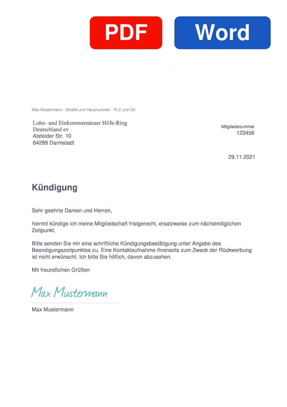 Lohnsteuerhilfering Muster Vorlage für Kündigungsschreiben