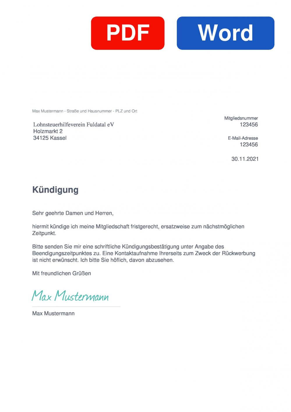 Lohnsteuerhilfeverein Fuldatal Muster Vorlage für Kündigungsschreiben