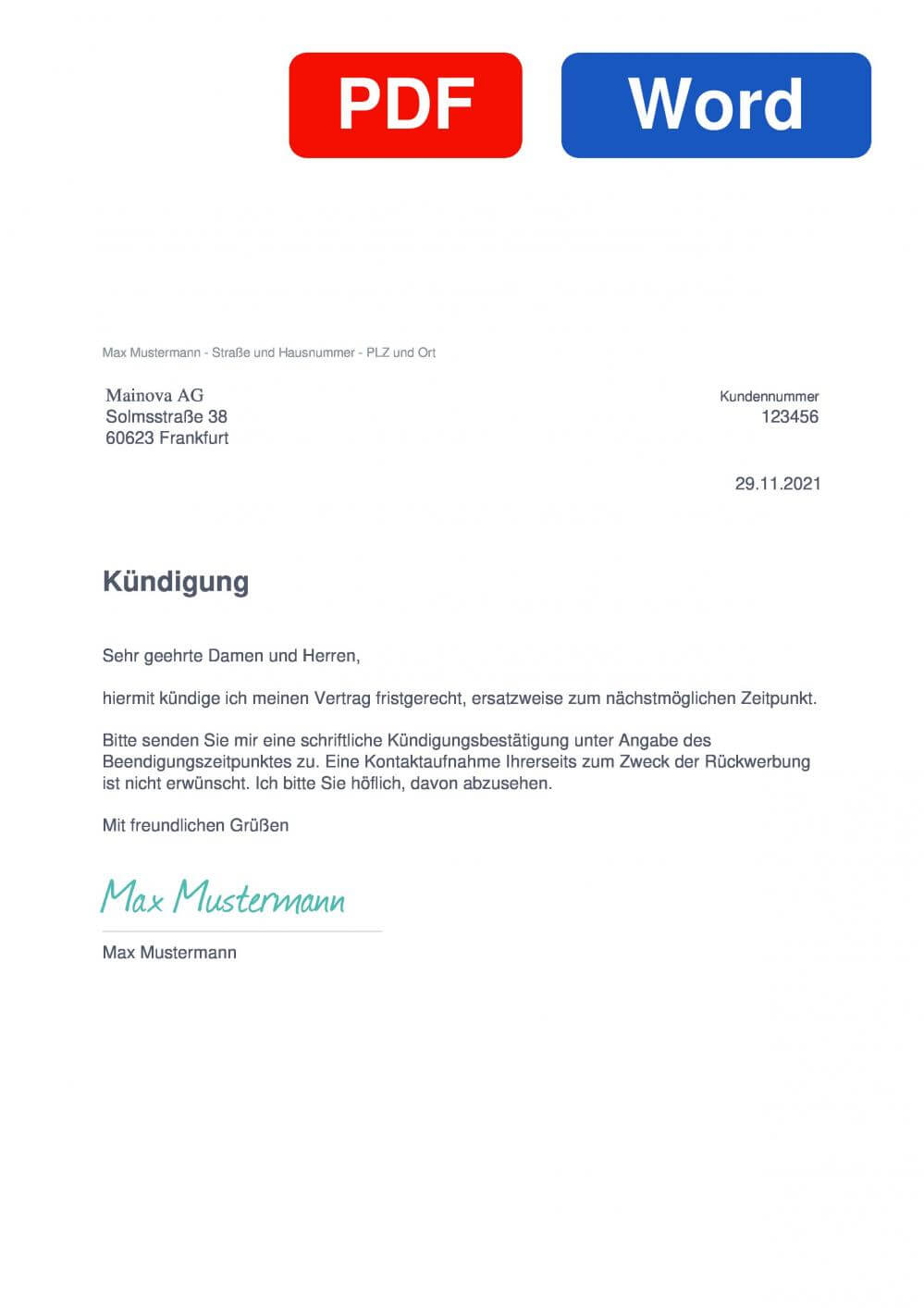Mainova Muster Vorlage für Kündigungsschreiben