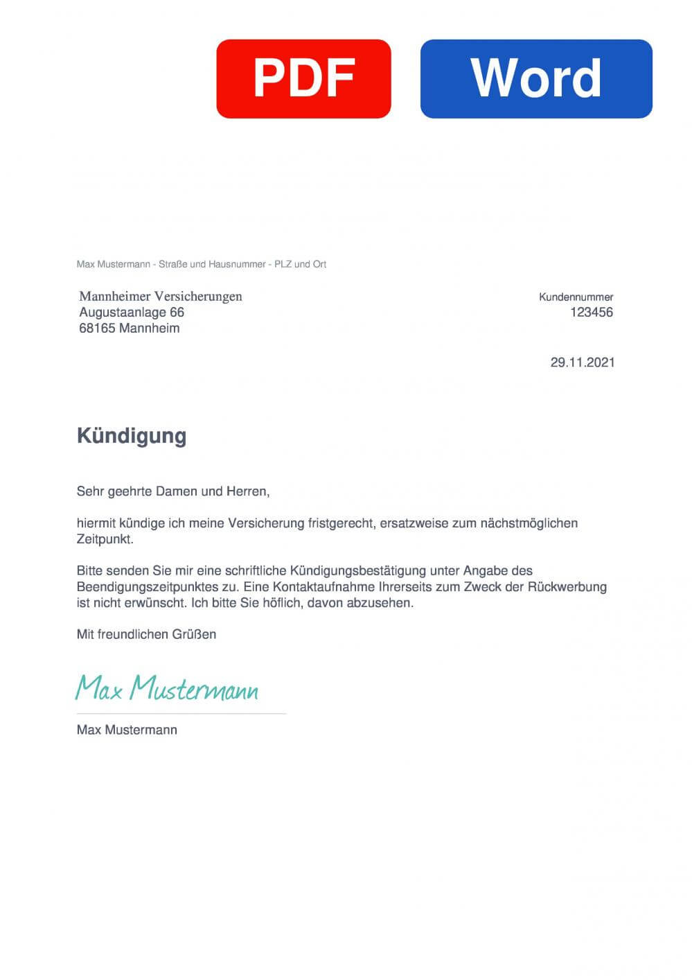 Mannheimer Hausratversicherung Muster Vorlage für Kündigungsschreiben