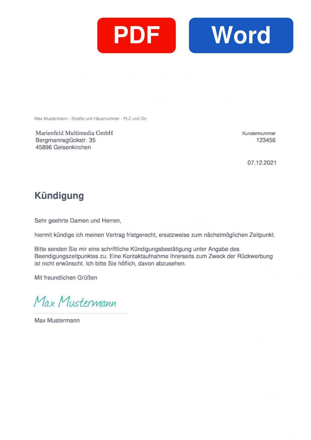 Marienfeld Multimedia Muster Vorlage für Kündigungsschreiben
