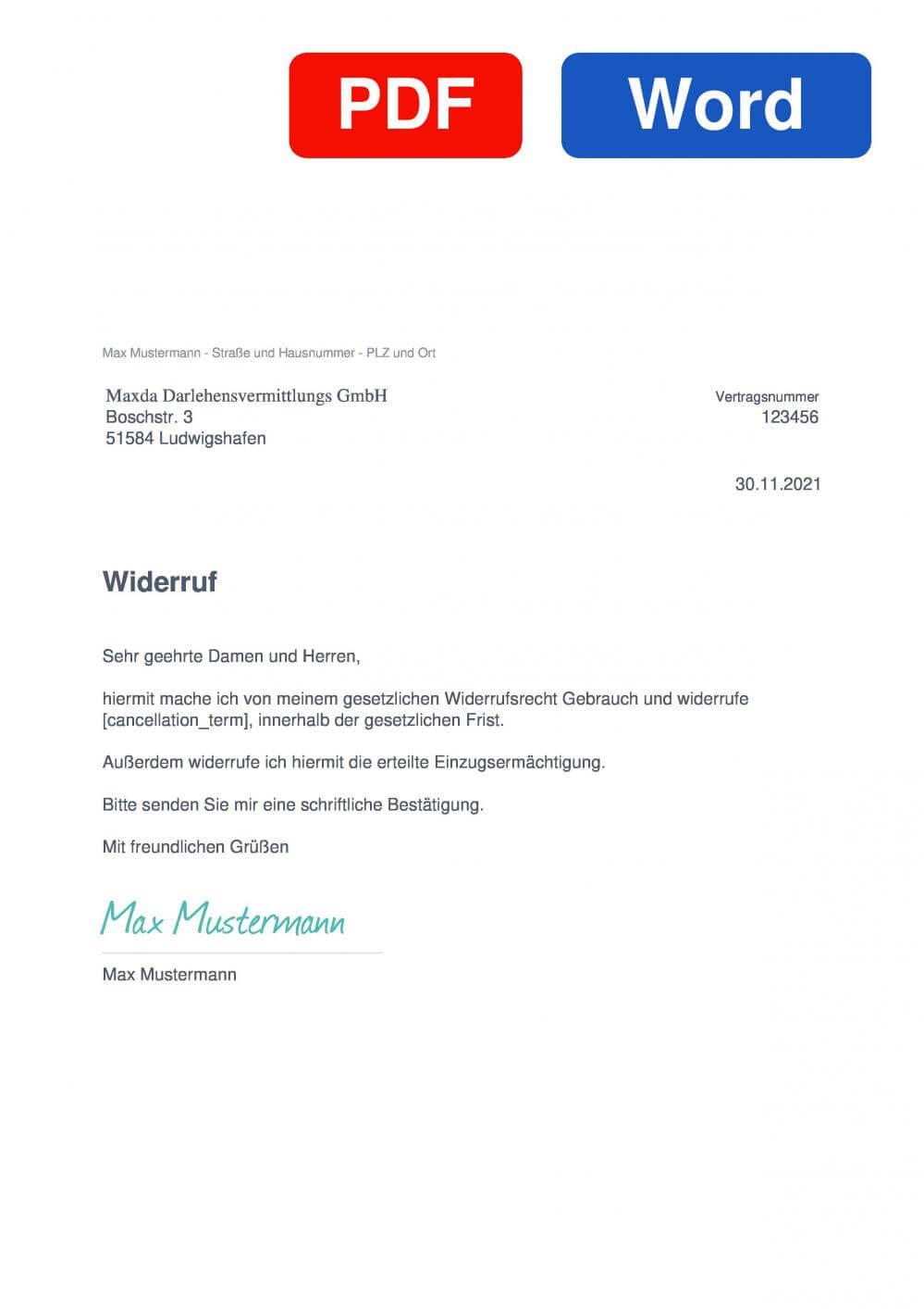 Maxda Muster Vorlage für Wiederrufsschreiben
