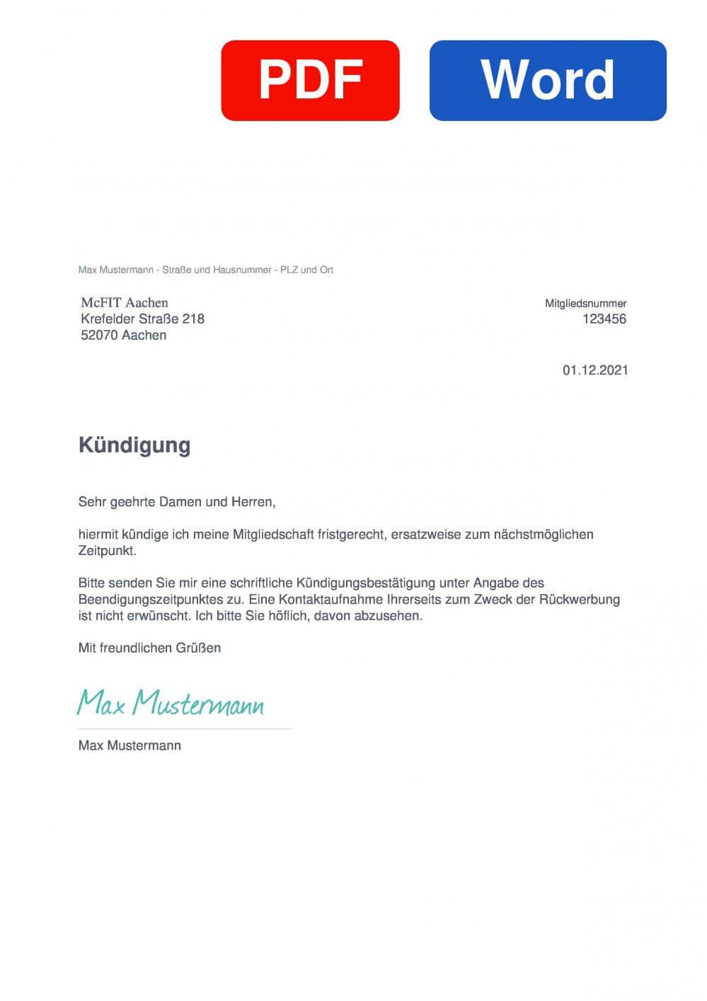 McFIT Aachen Krefelder Straße Muster Vorlage für Kündigungsschreiben