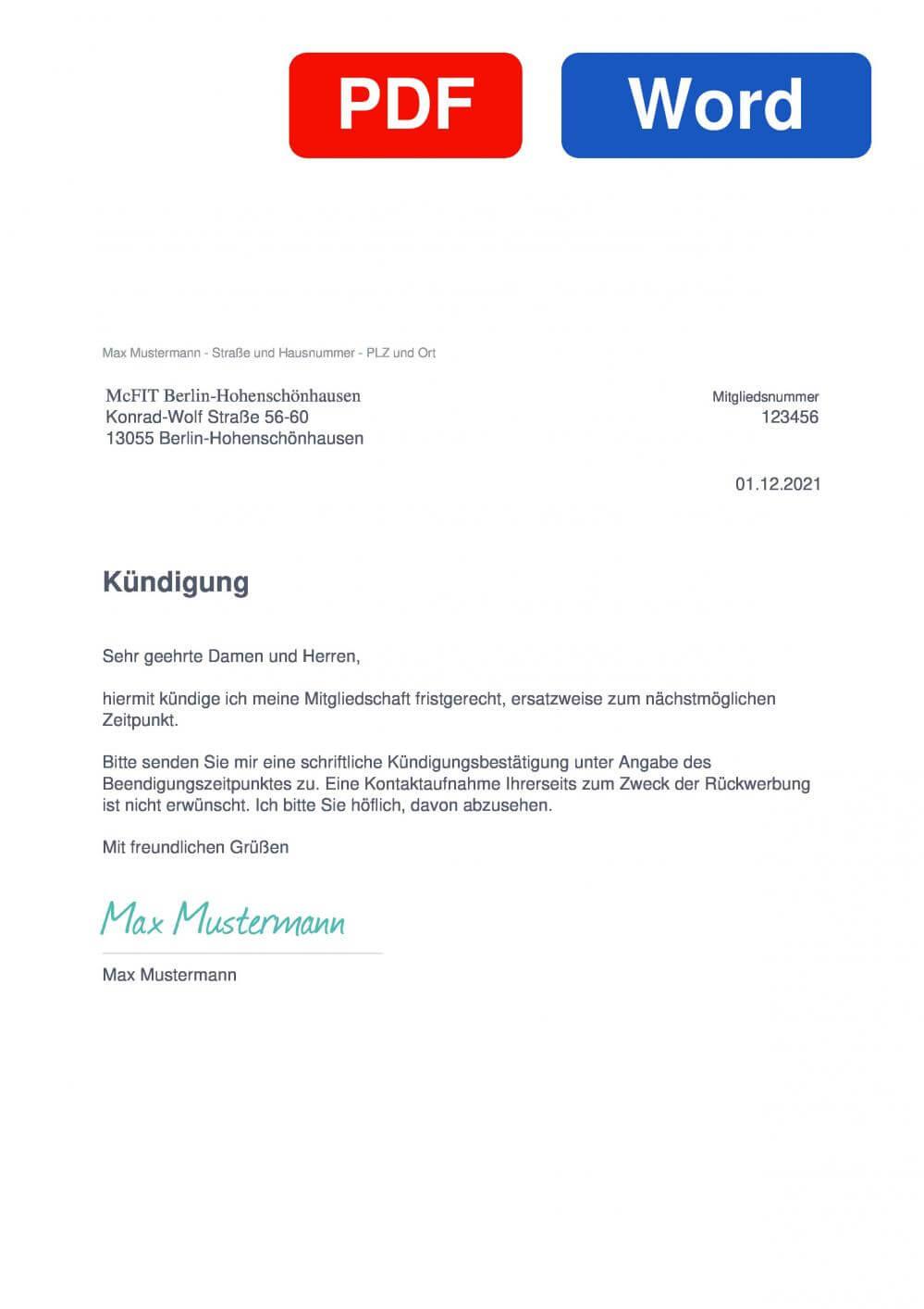 McFIT Berlin-Hohenschönhausen Muster Vorlage für Kündigungsschreiben