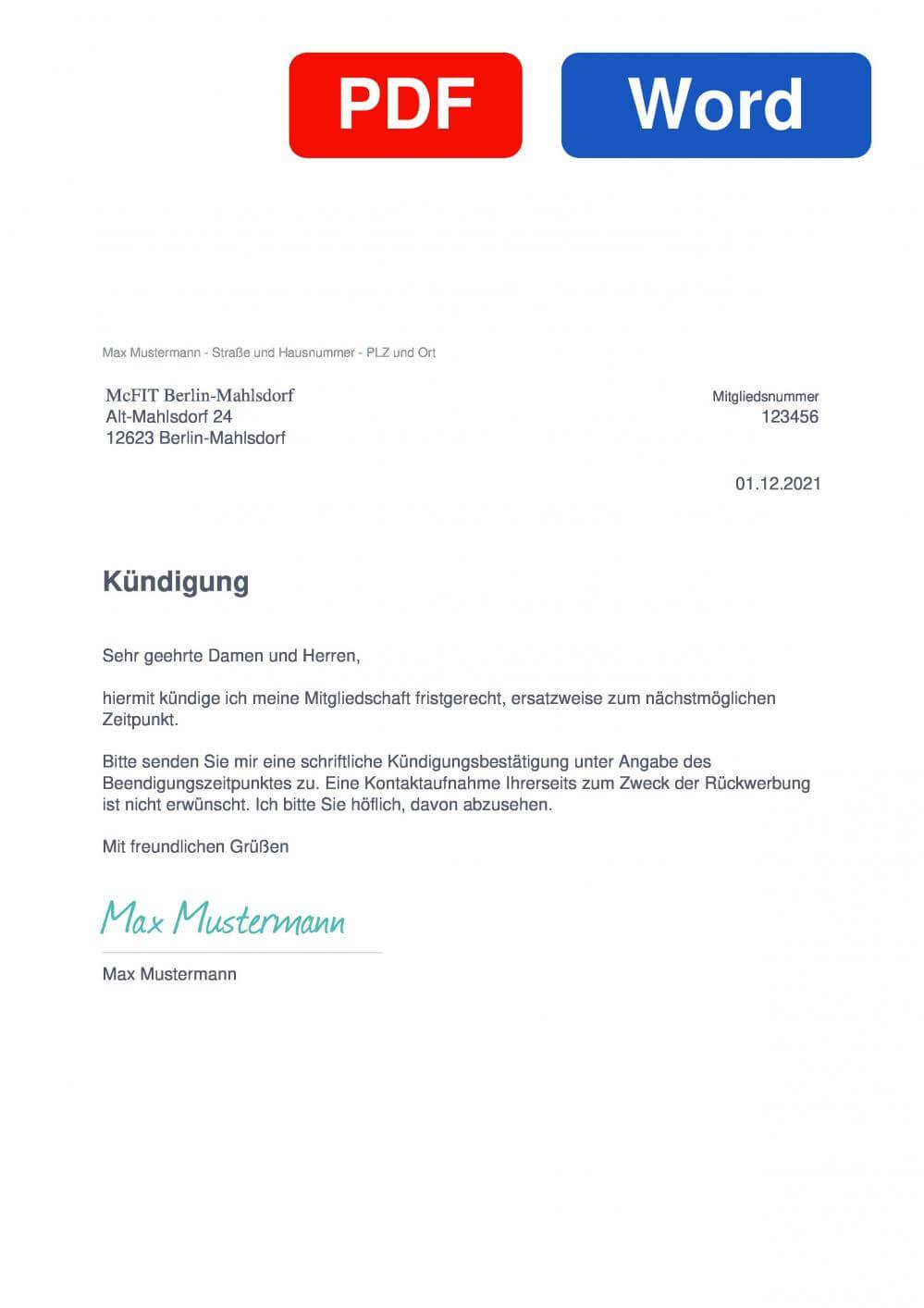 McFIT Berlin-Mahlsdorf Muster Vorlage für Kündigungsschreiben