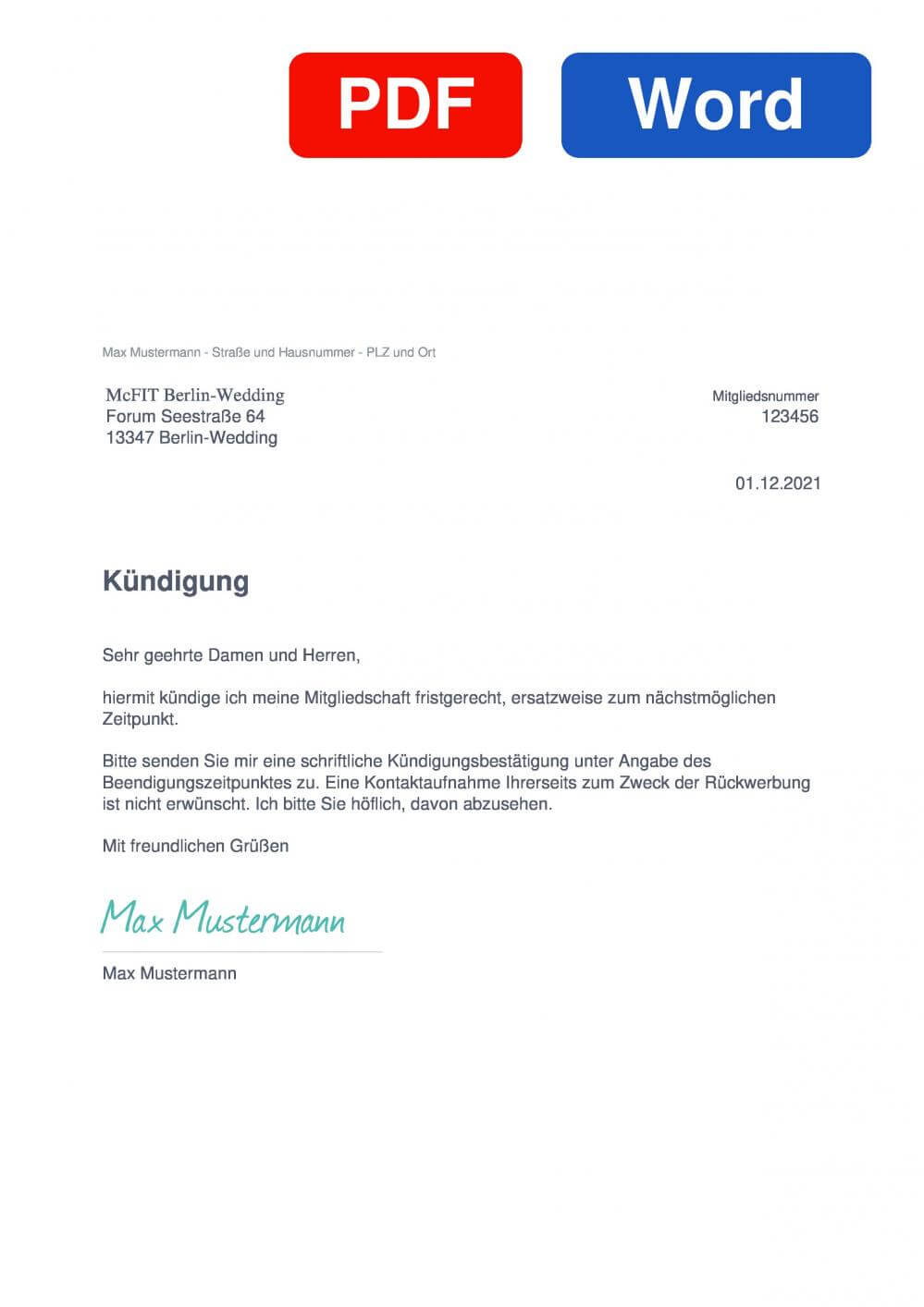 McFIT Berlin-Wedding Muster Vorlage für Kündigungsschreiben