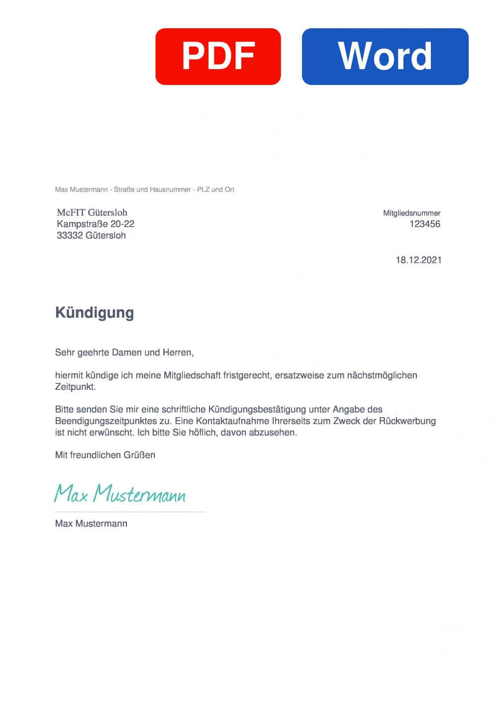 McFIT Gütersloh Muster Vorlage für Kündigungsschreiben