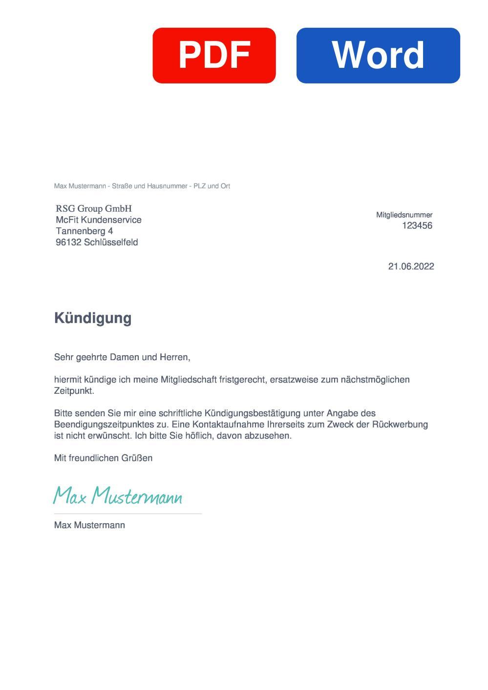 McFIT Muster Vorlage für Kündigungsschreiben