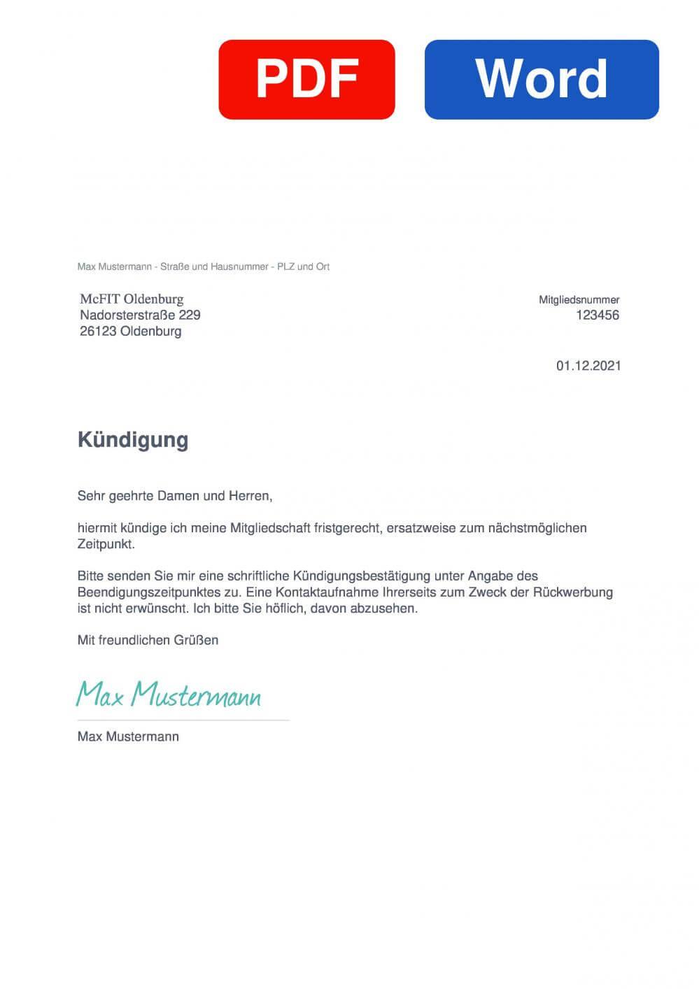 McFIT Oldenburg Muster Vorlage für Kündigungsschreiben