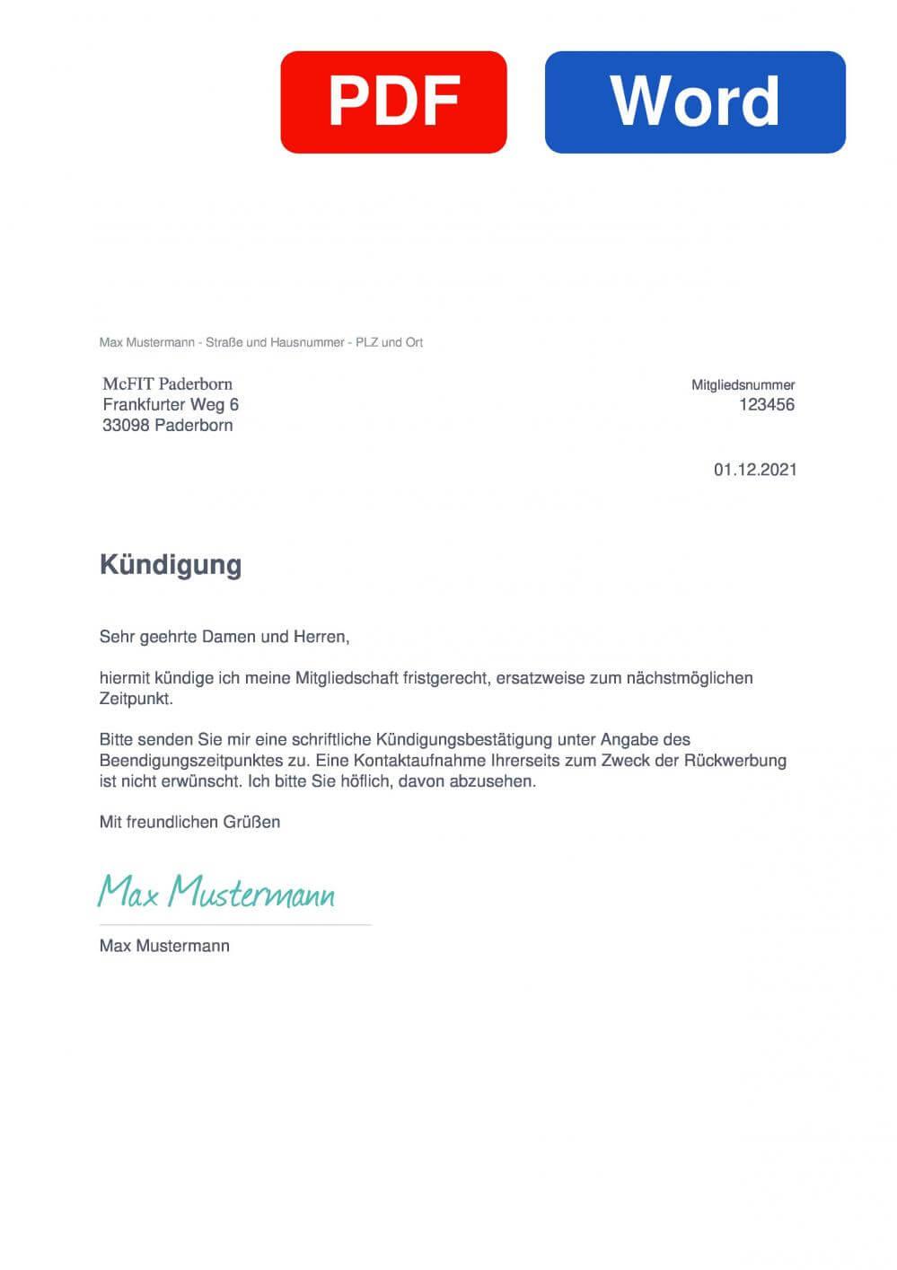 McFIT Paderborn Muster Vorlage für Kündigungsschreiben
