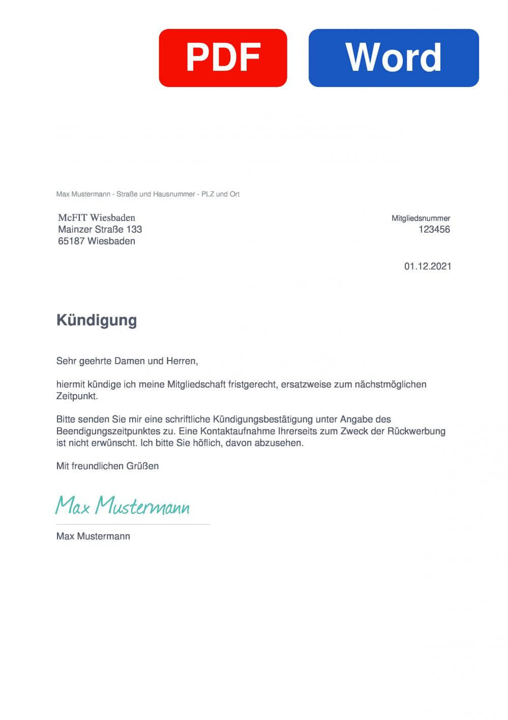 McFIT Wiesbaden Muster Vorlage für Kündigungsschreiben