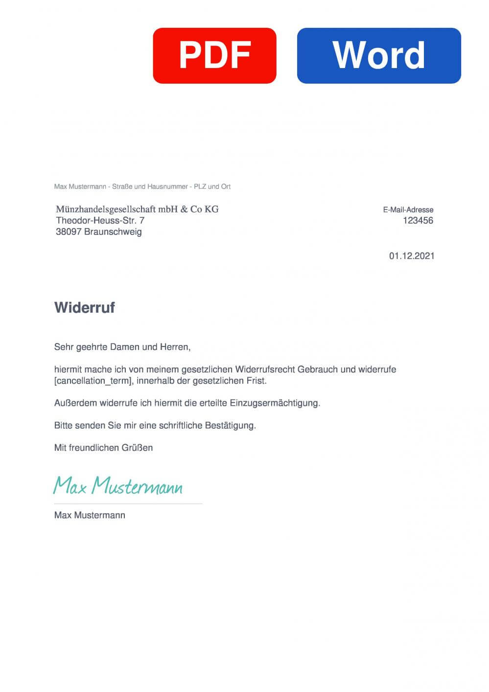 MDM Muster Vorlage für Wiederrufsschreiben