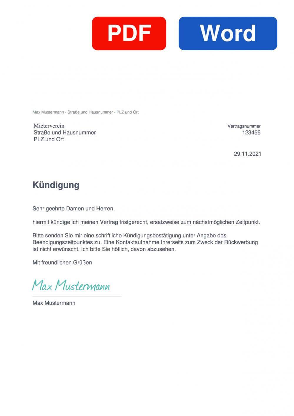 Mieterverein Muster Vorlage für Kündigungsschreiben