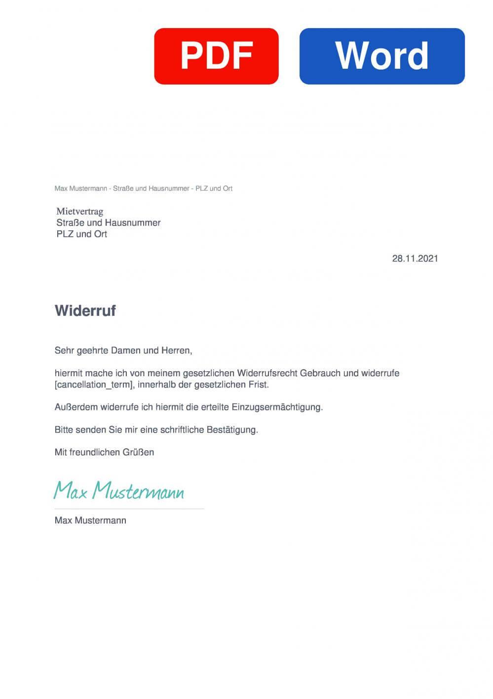 Mietvertrag Muster Vorlage für Wiederrufsschreiben