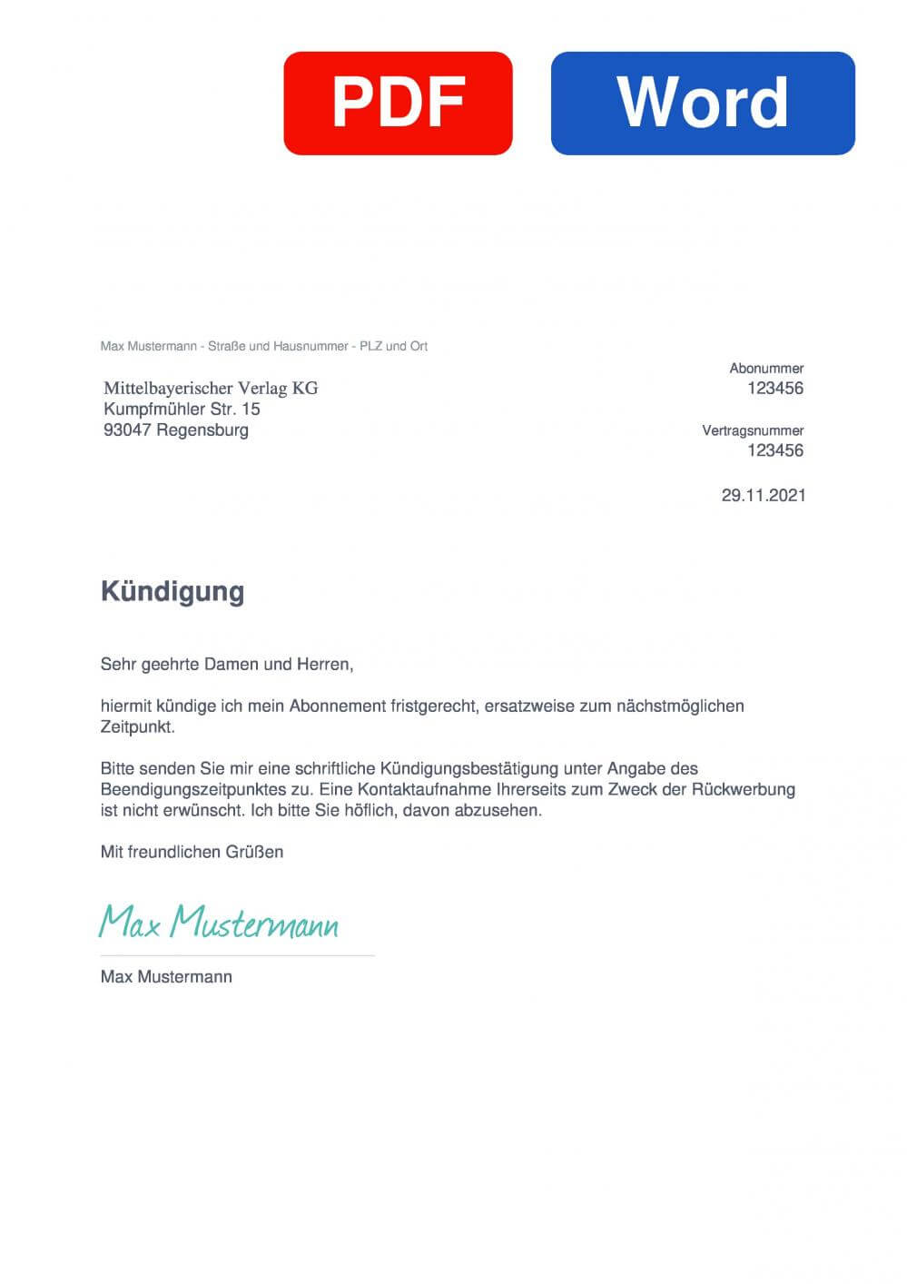 Mittelbayerische Zeitung Muster Vorlage für Kündigungsschreiben