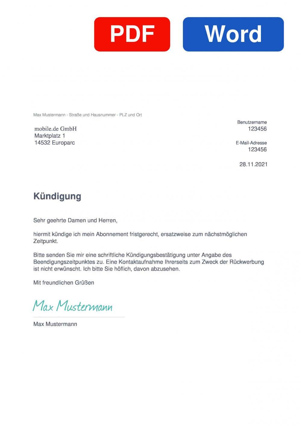 mobile.de Muster Vorlage für Kündigungsschreiben