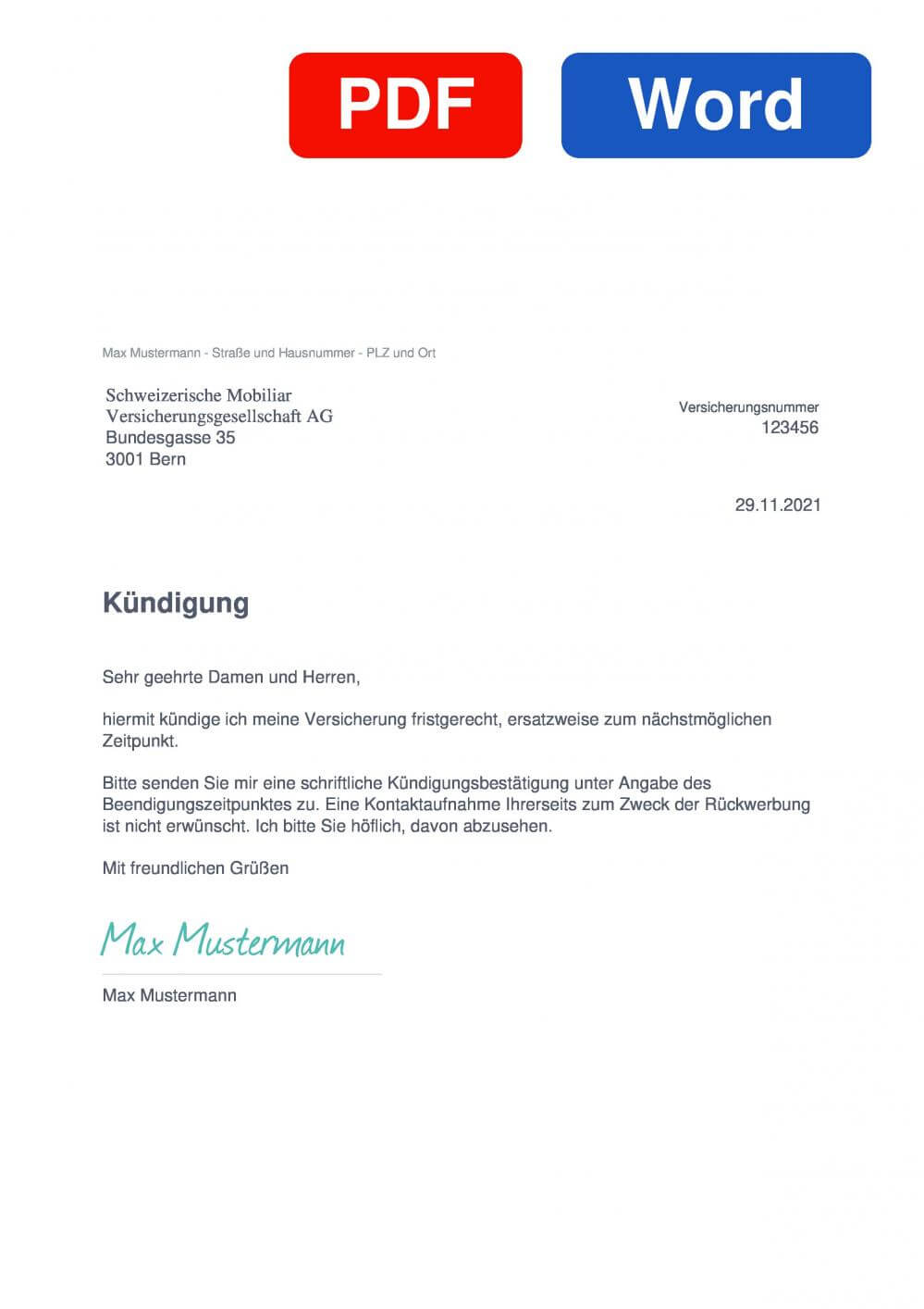 Mobiliar Muster Vorlage für Kündigungsschreiben