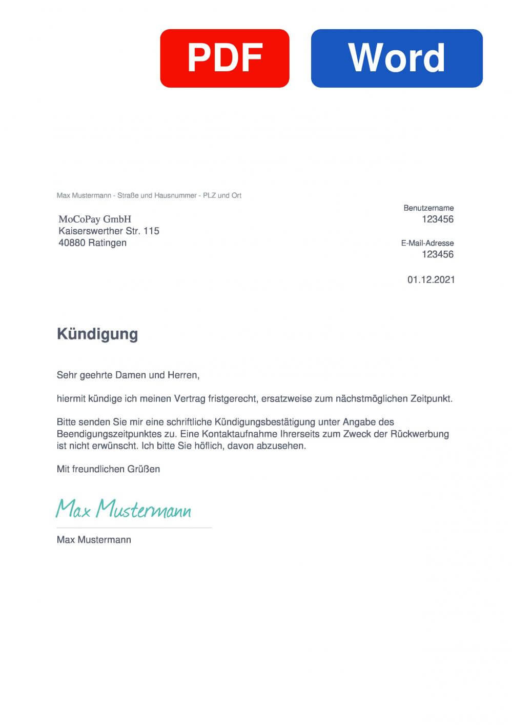 MoCoPay.de Muster Vorlage für Kündigungsschreiben