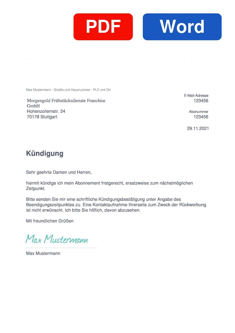 Morgengold Muster Vorlage für Kündigungsschreiben