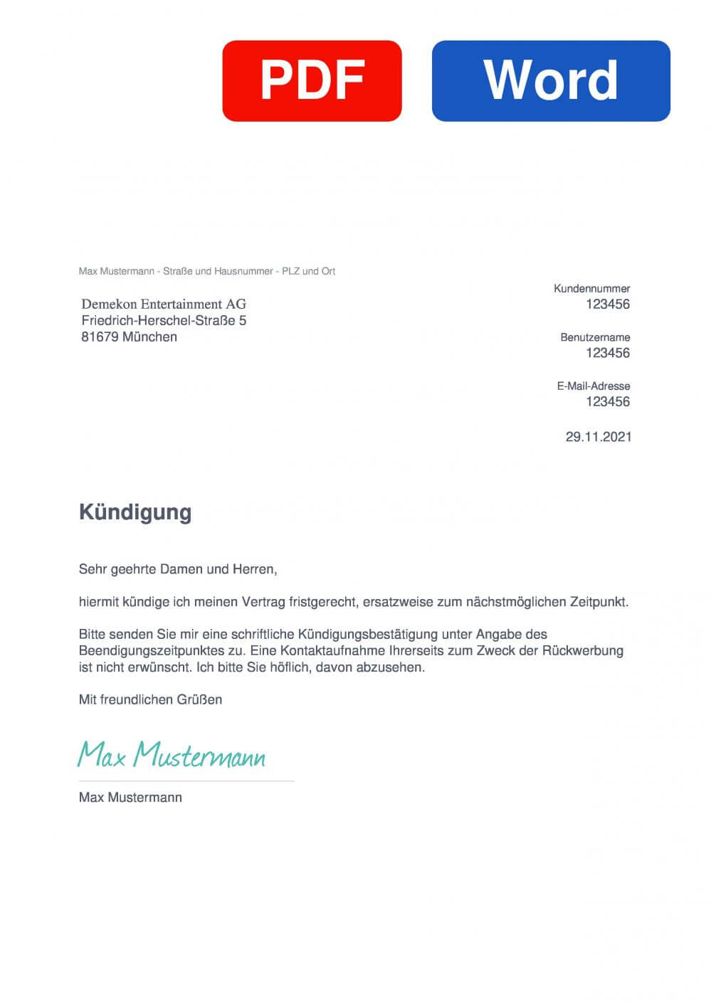 MusicMonster.FM Muster Vorlage für Kündigungsschreiben
