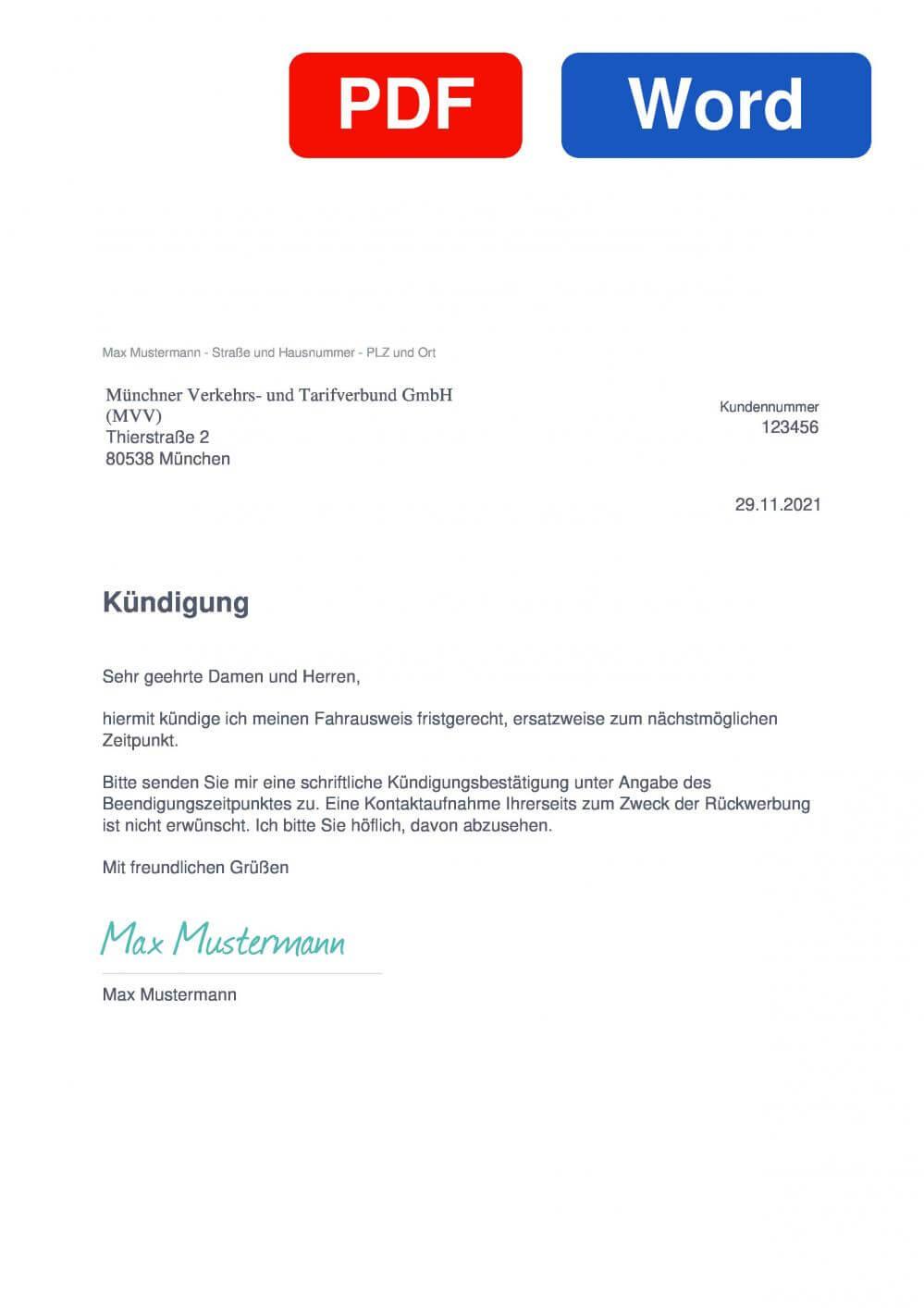 MVV - Münchner Verkehrs- und Tarifverbund Muster Vorlage für Kündigungsschreiben