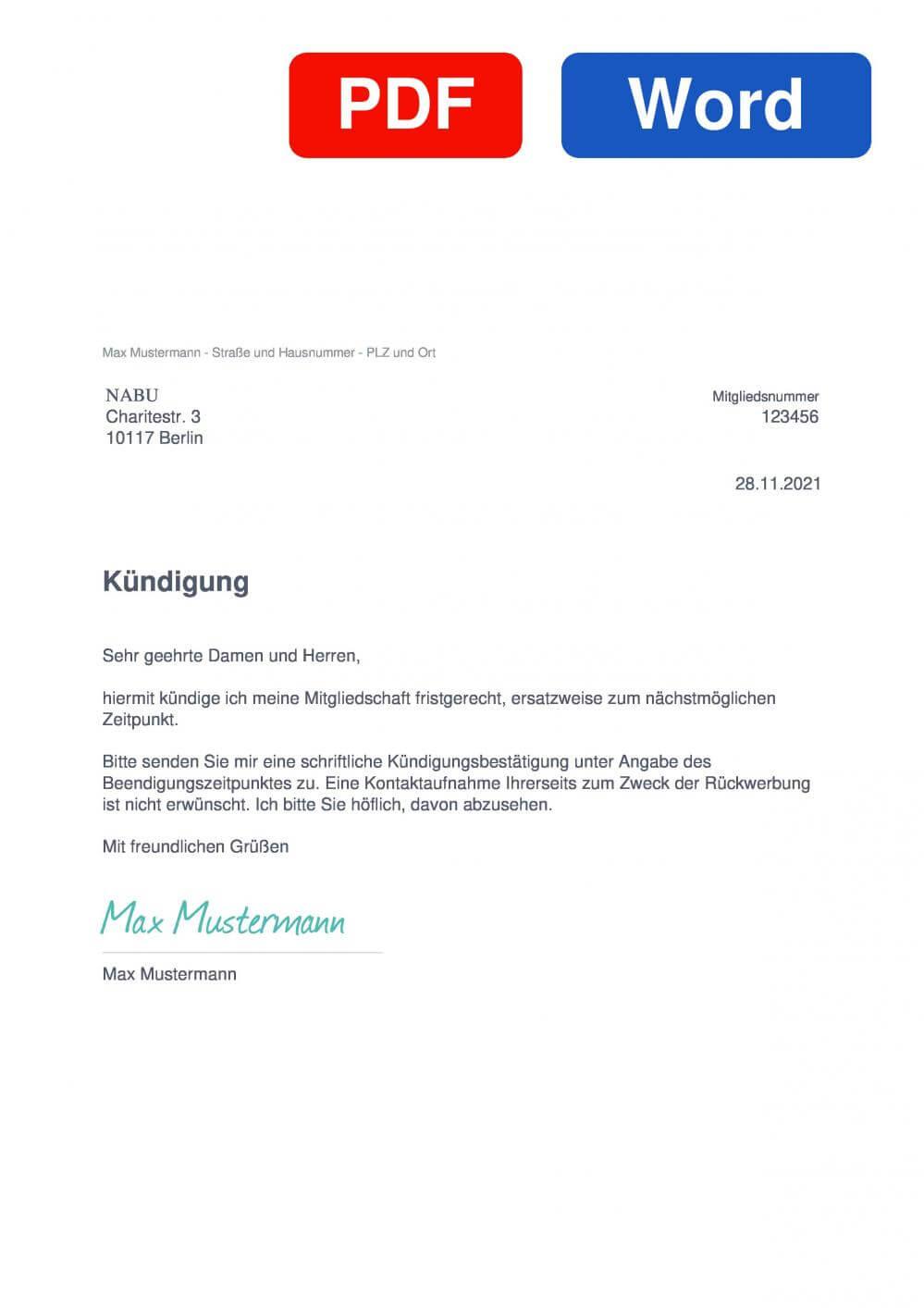 NABU Muster Vorlage für Kündigungsschreiben