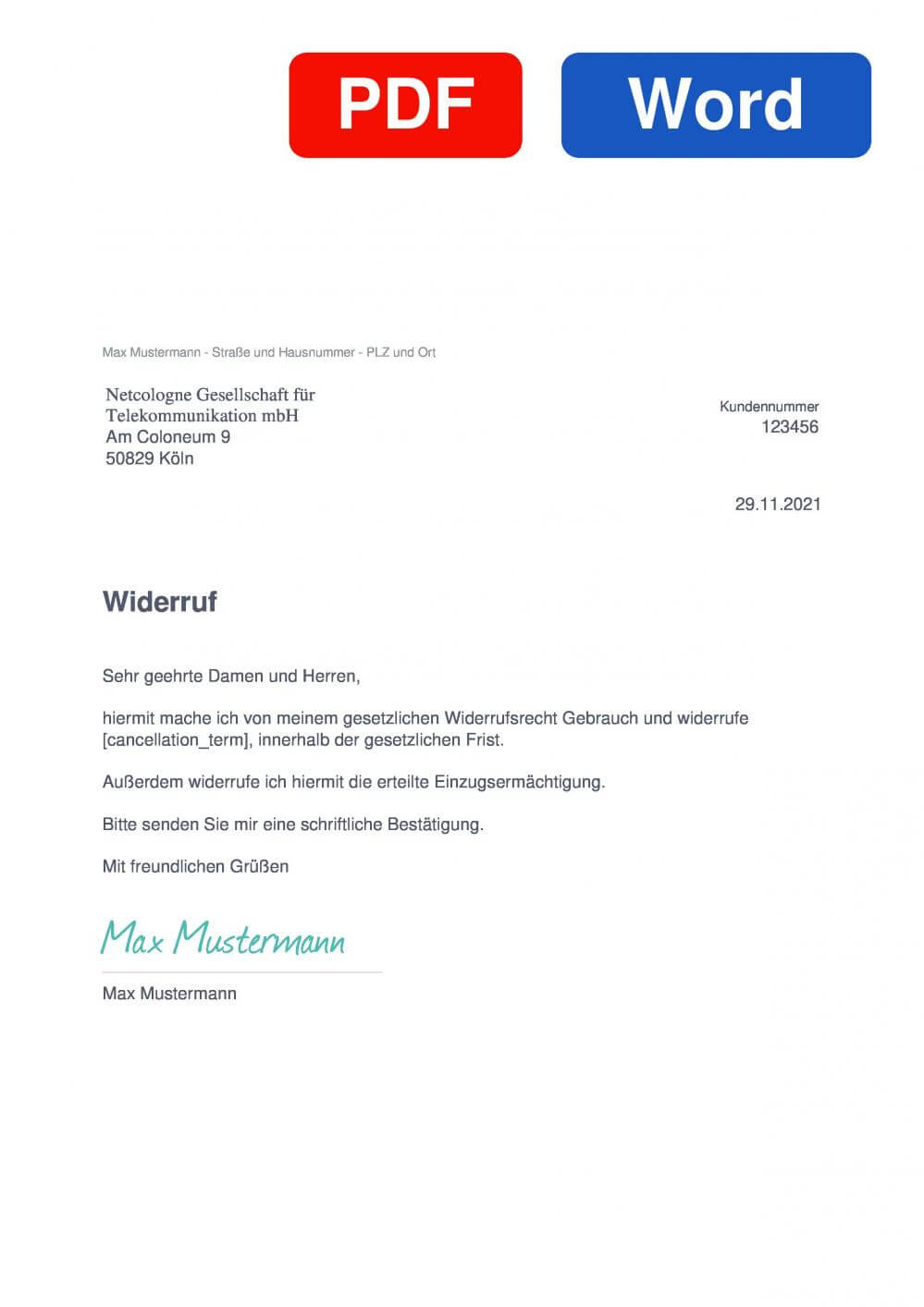 NetCologne Internet & Festnetz Muster Vorlage für Wiederrufsschreiben
