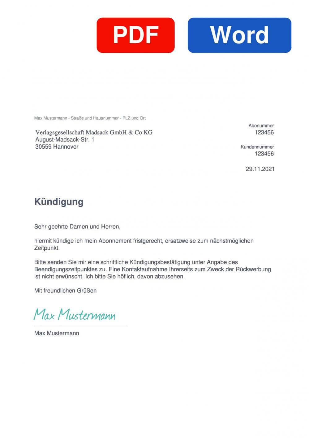 Neue Presse Hannover Muster Vorlage für Kündigungsschreiben