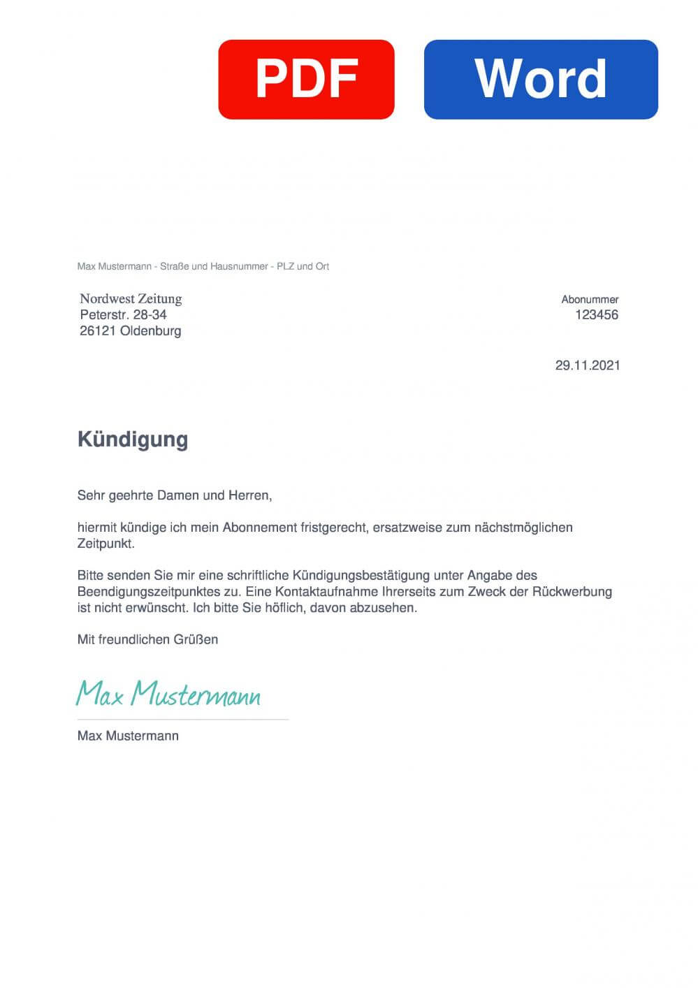Nordwest Zeitung Muster Vorlage für Kündigungsschreiben