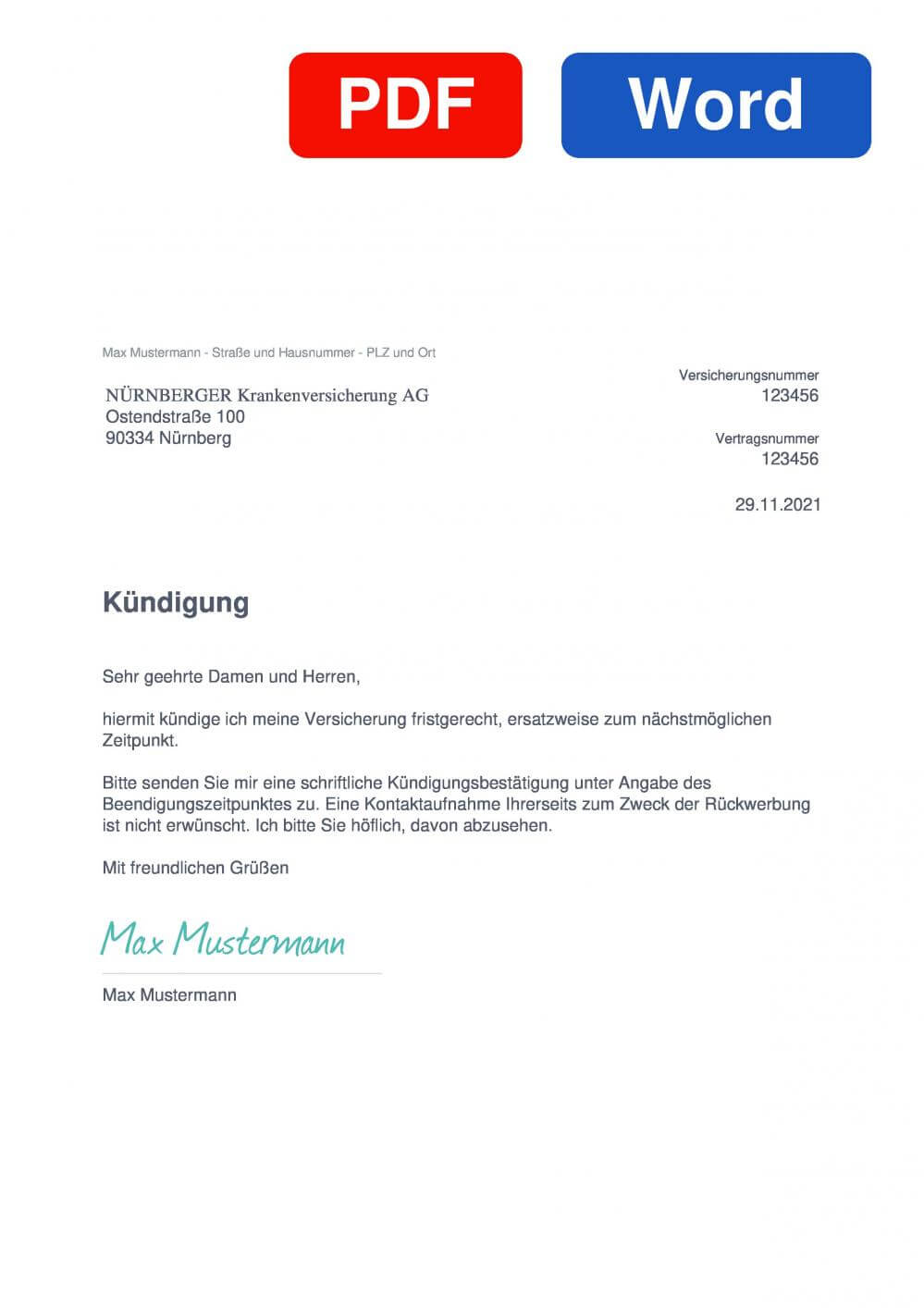 NÜRNBERGER Auslandskrankenversicherung Muster Vorlage für Kündigungsschreiben