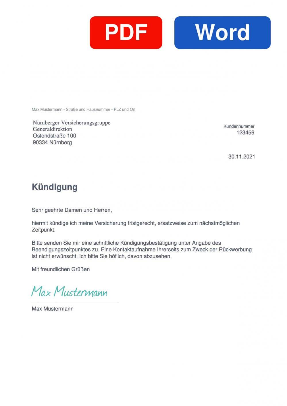 NÜRNBERGER Hausratversicherung Muster Vorlage für Kündigungsschreiben