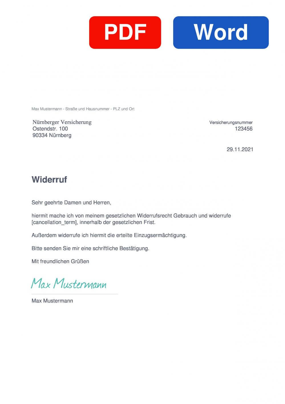 Nürnberger Versicherung Muster Vorlage für Wiederrufsschreiben