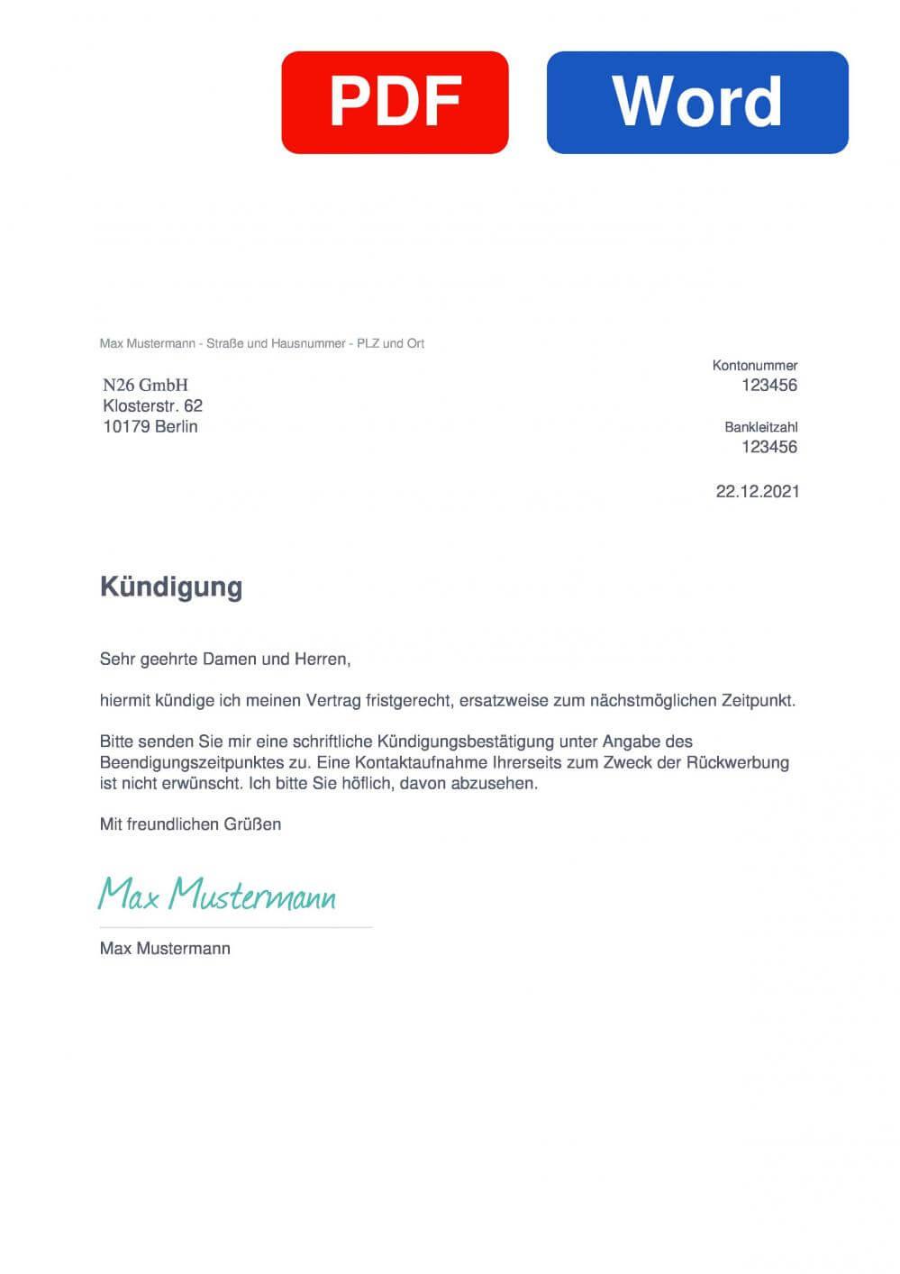 Number26 Direktbank Muster Vorlage für Kündigungsschreiben