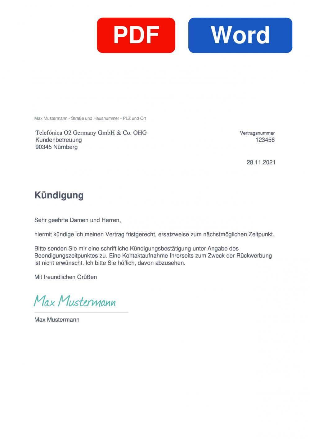 O2 Business Muster Vorlage für Kündigungsschreiben