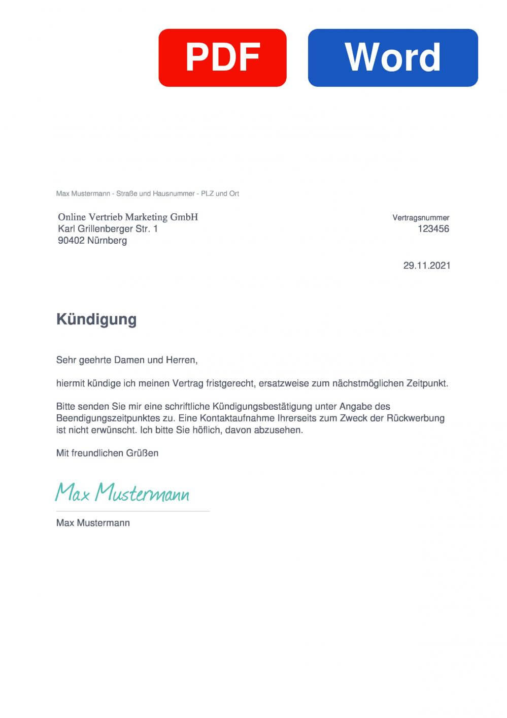 Online Vertrieb Marketing GmbH Muster Vorlage für Kündigungsschreiben