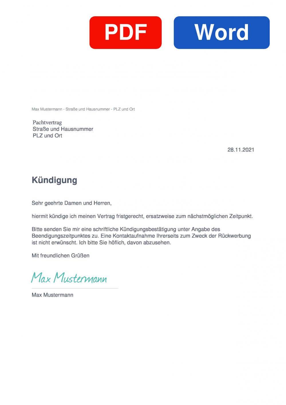 Pachtvertrag Muster Vorlage für Kündigungsschreiben
