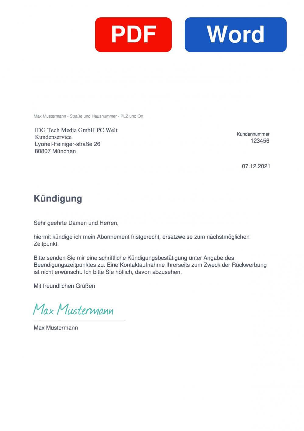 PC-WELT Muster Vorlage für Kündigungsschreiben