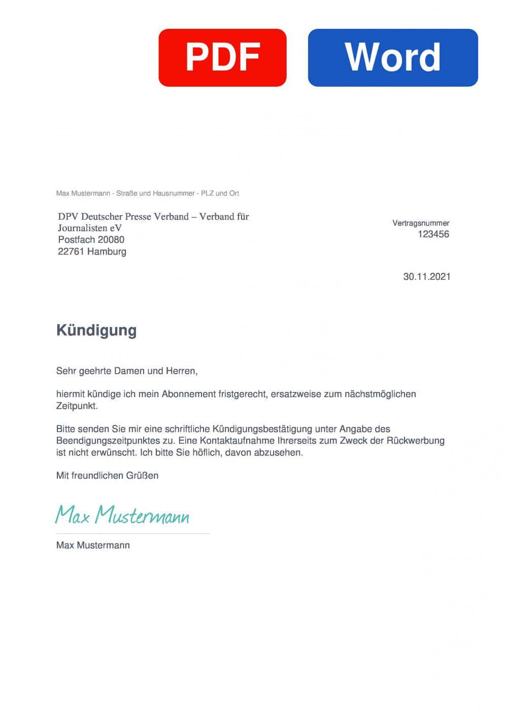 PDV Deutscher Pressevertrieb Muster Vorlage für Kündigungsschreiben