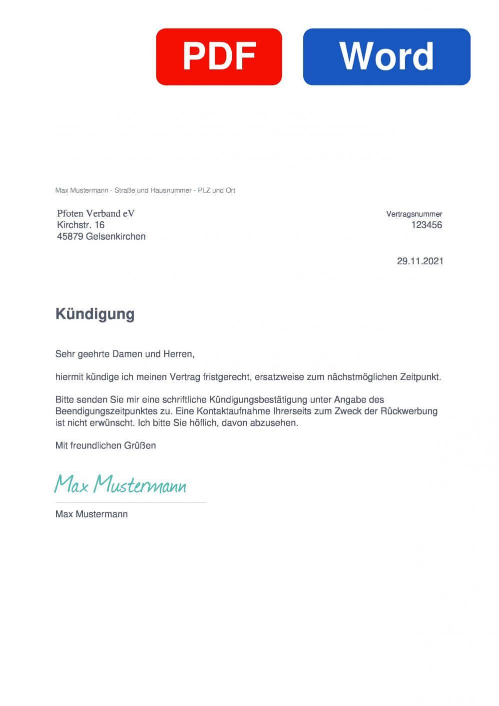 Pfoten Verband eV. Muster Vorlage für Kündigungsschreiben