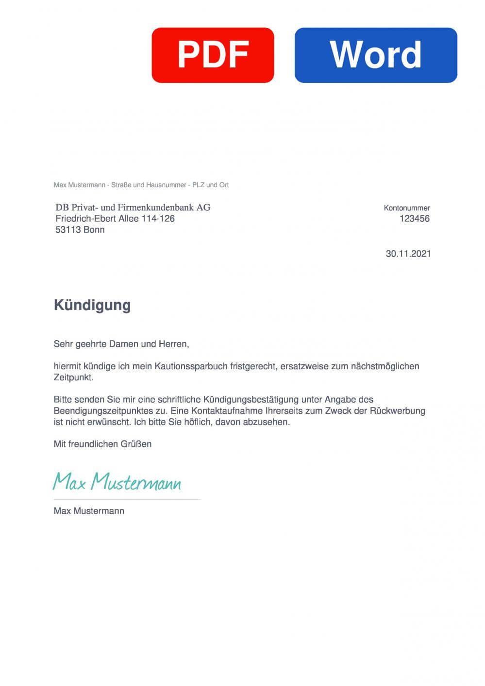 Postbank Kautionssparbuch Muster Vorlage für Kündigungsschreiben