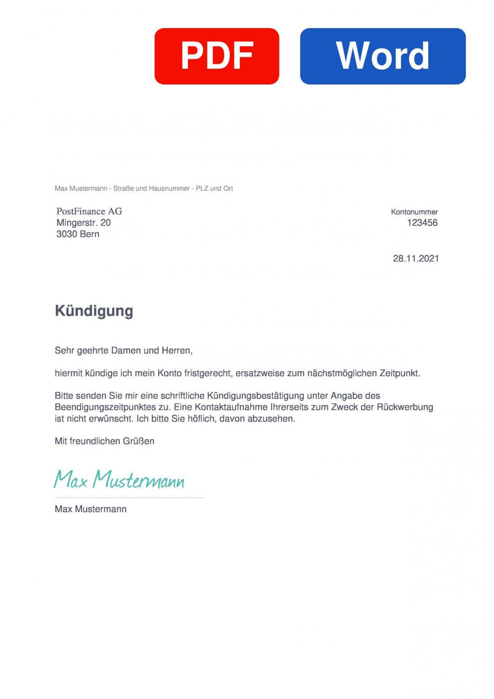 PostFinance Muster Vorlage für Kündigungsschreiben