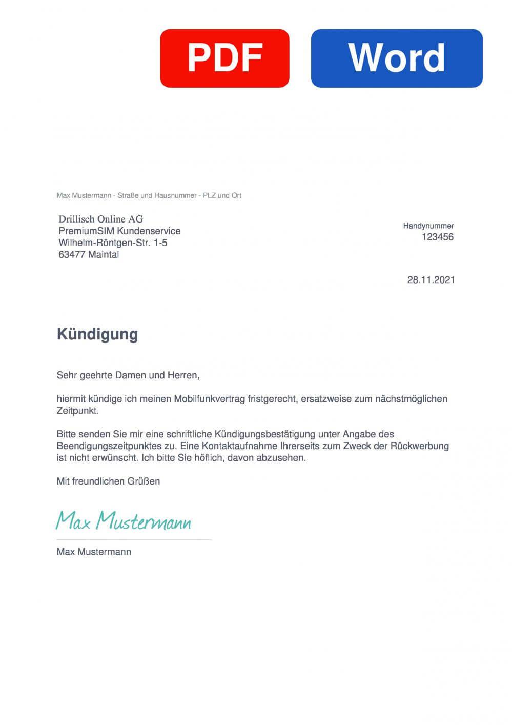 Premiumsim Muster Vorlage für Kündigungsschreiben