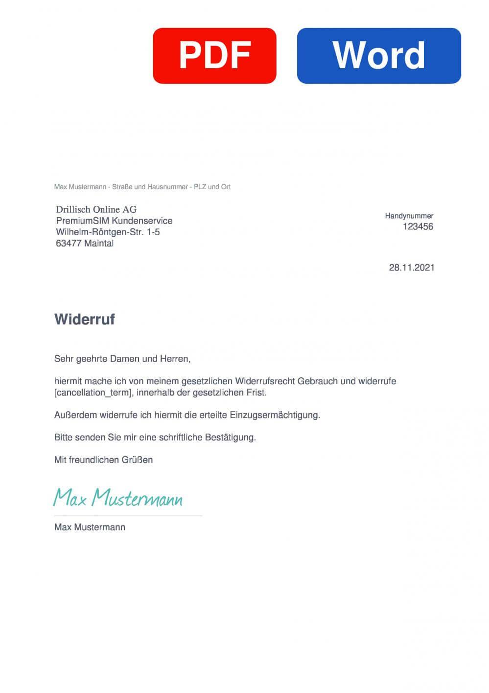 PremiumSIM Muster Vorlage für Wiederrufsschreiben