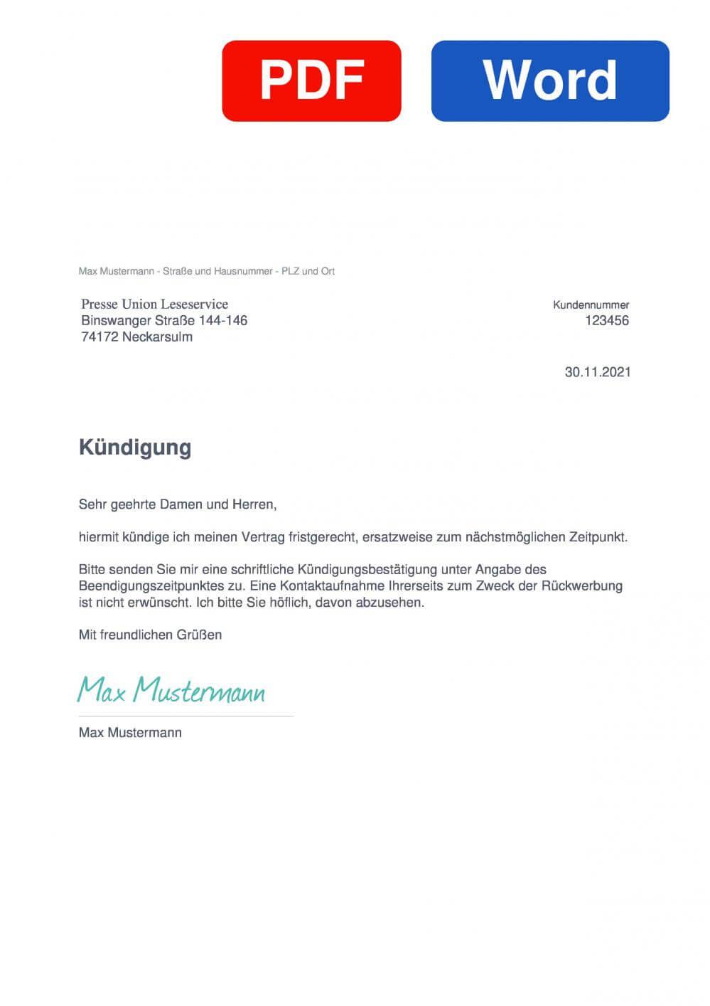 Presse Union Muster Vorlage für Kündigungsschreiben